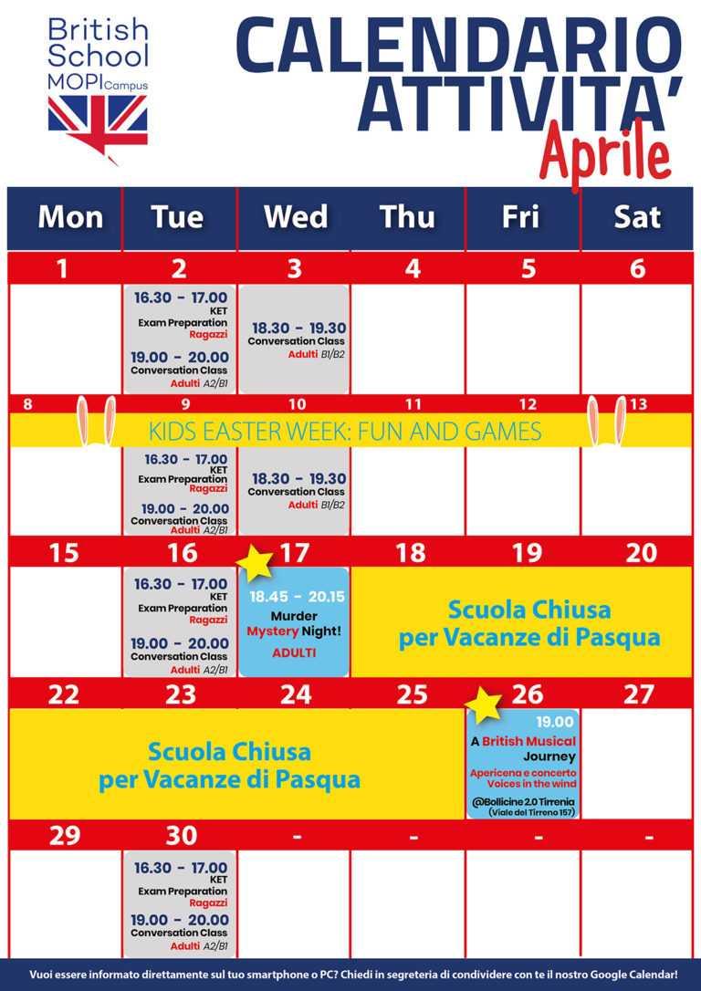 Calendario eventi Mopi